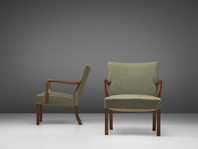 Pair of Easy Chairs in Mahogany by Jacob Kjær In Good Condition For Sale In Waalwijk, NL
