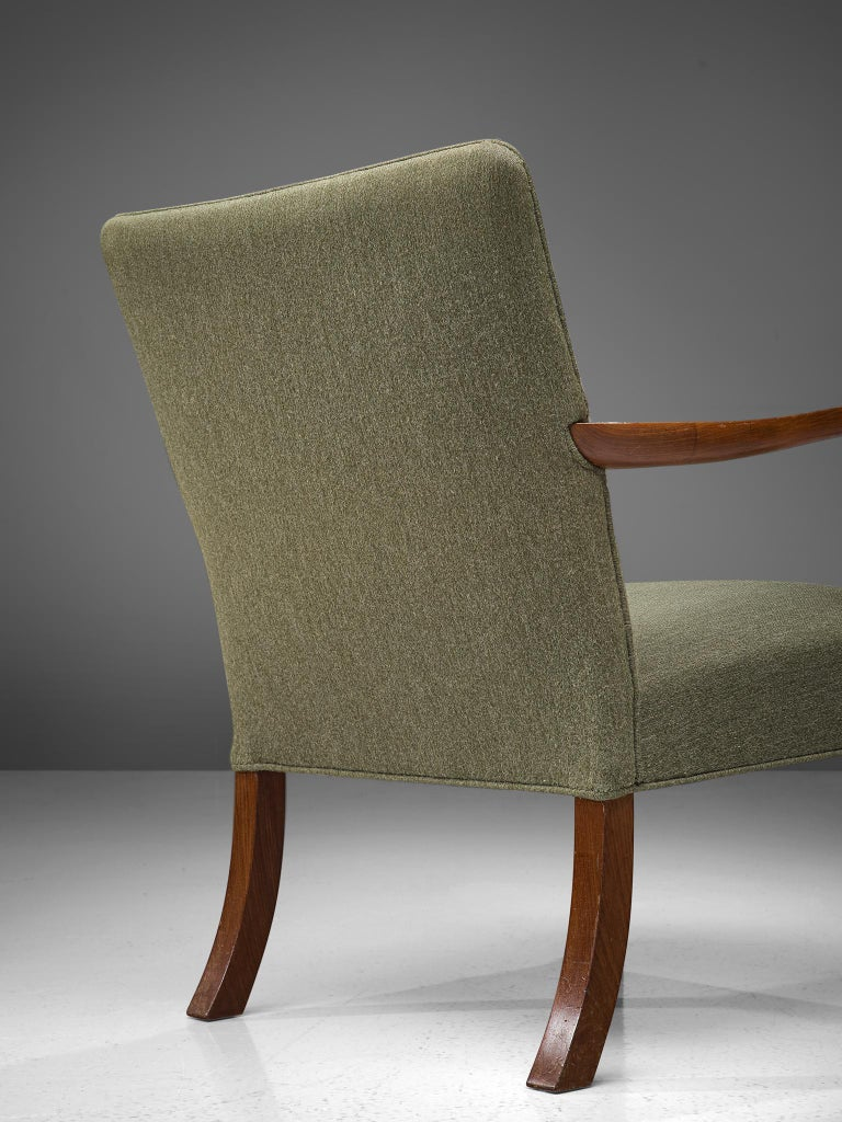 Fabric Pair of Easy Chairs in Mahogany by Jacob Kjær For Sale