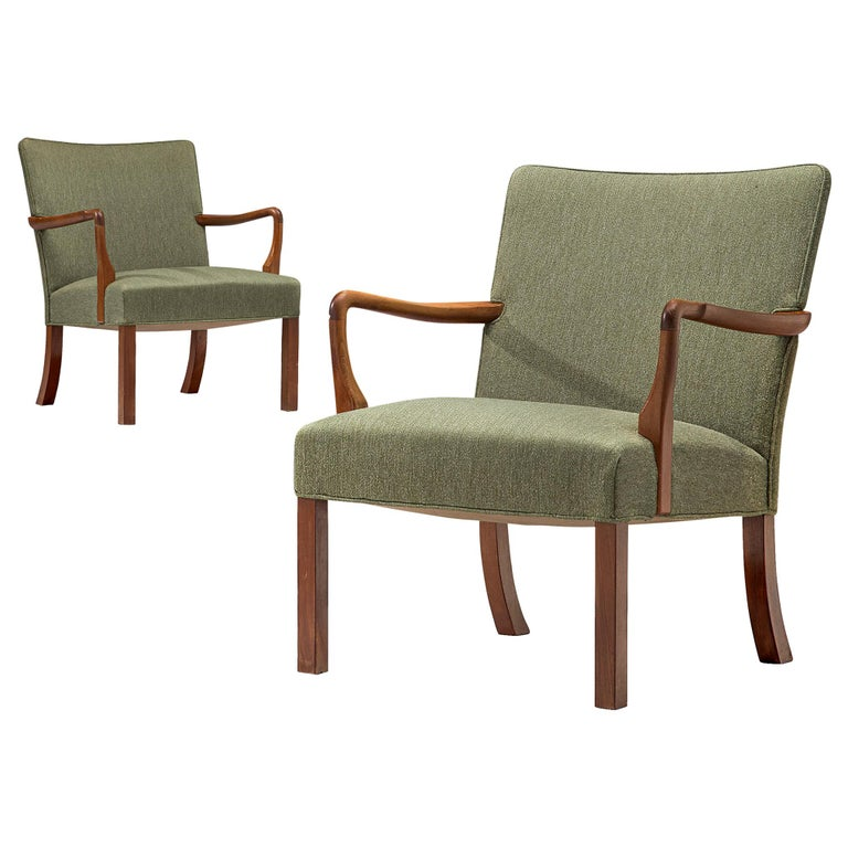 Pair of Easy Chairs in Mahogany by Jacob Kjær For Sale