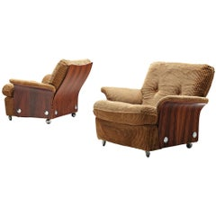 Pair of Easy Chairs in Light Brown Corduroy