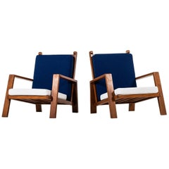 Pair of Easy Chairs in Mahogany and New Wool Fabric