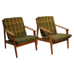 Pair of Easy Chairs in Oak, Model J55, by Poul M. Volther for FDB, 1961
