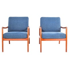 Pair of Easy Chairs in Teak by Ole Wanscher for France & Son, 1950s