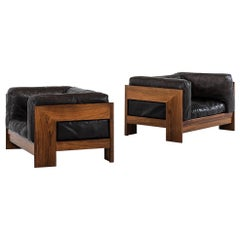Pair of Easy Chairs in the Manner of Tobia Scarpa in Rosewood and Leather