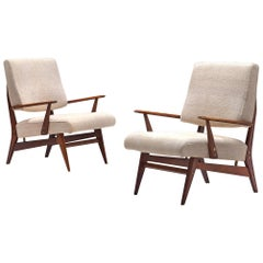 Pair of Easy Chairs in Walnut and Fabric