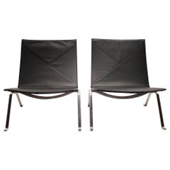 Pair of Easy Chairs, Model PK22, by Poul Kjærholm and Fritz Hansen, 1980s
