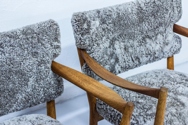 Pair of Easy Chairs with Sheepskin by Fredrik Kayser & Adolf Relling, Norway For Sale 4