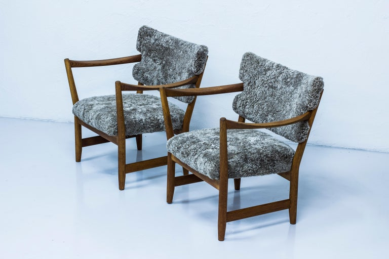 Norwegian Pair of Easy Chairs with Sheepskin by Fredrik Kayser & Adolf Relling, Norway For Sale