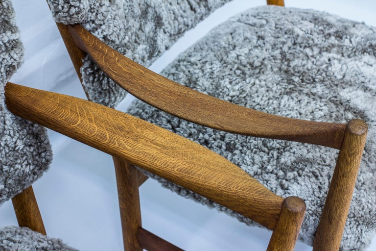 Pair of Easy Chairs with Sheepskin by Fredrik Kayser & Adolf Relling, Norway For Sale 3
