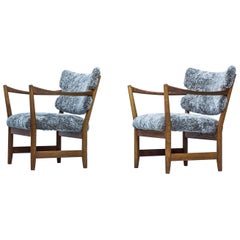 Pair of Easy Chairs with Sheepskin by Fredrik Kayser & Adolf Relling, Norway