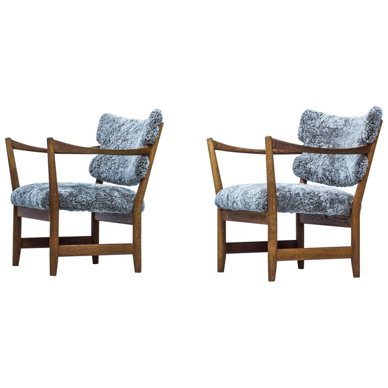 Pair of Easy Chairs with Sheepskin by Fredrik Kayser & Adolf Relling, Norway For Sale