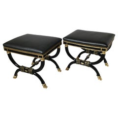 Pair of Ebonized and Gilt Neoclassical X Benches
