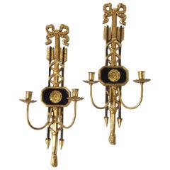 Pair of Ebonized and Giltwood Candle Sconces