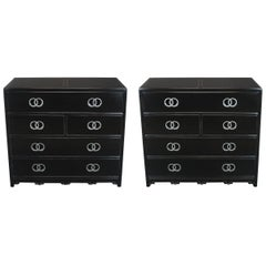 Pair of Ebonized and Silver Leaf Commodes by Baker