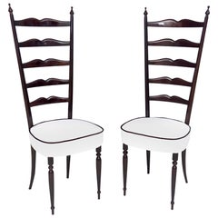 Pair of Ebonized Beech Chiavarine Chairs with White Upholstery, Italy, 1950s