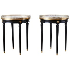 Pair of Ebonized Bouillotte Style Marble-Top Drink Tables