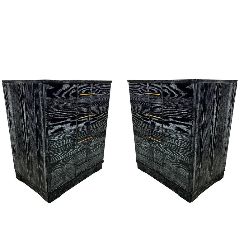 Pair of Ebonized Cerused Oak Bachelors Chests with Brass Hardware