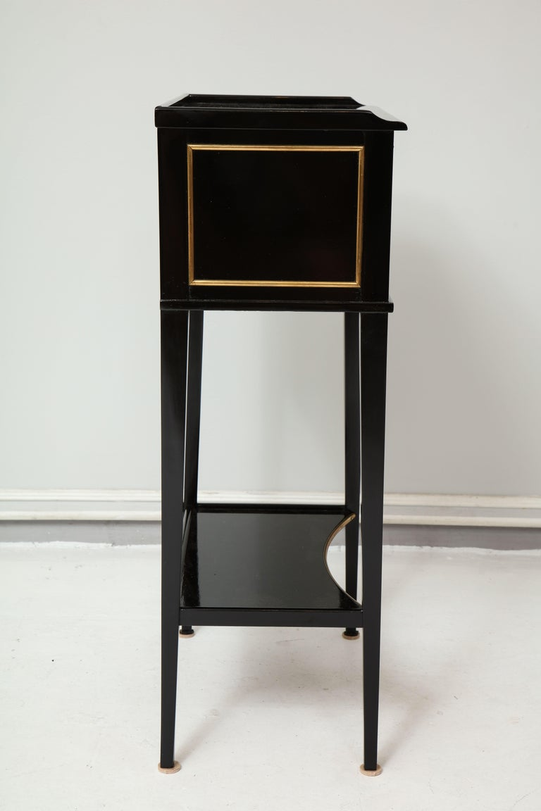 Wood Pair of Ebonized Directoire-Style End Tables/ Nightstands with Bronze Trimming