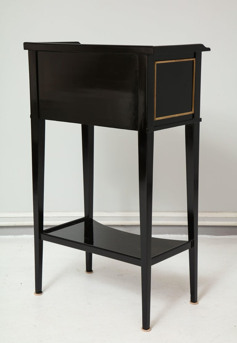 Pair of Ebonized Directoire-Style End Tables/ Nightstands with Bronze Trimming 1