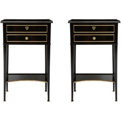 Pair of Ebonized Directoire-Style End Tables/ Nightstands with Bronze Trimming