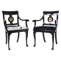 Pair of Ebonized English Regency Armchairs with Pony Seats and Monogram