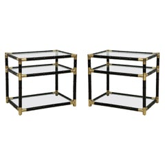 Pair of Ebonized Faux-Bamboo and Bronze Tables in the Manner of Billy Haines