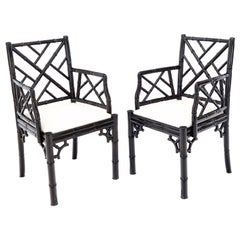 Pair of Ebonized Faux Bamboo Armchairs with New Linen Fabric Upholstery