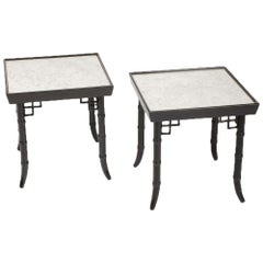 Pair of Ebonized Faux Bamboo Tables, circa 1950