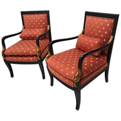 Pair of Ebonized Gold Decorated Carving Frames Neoclassical Armchairs