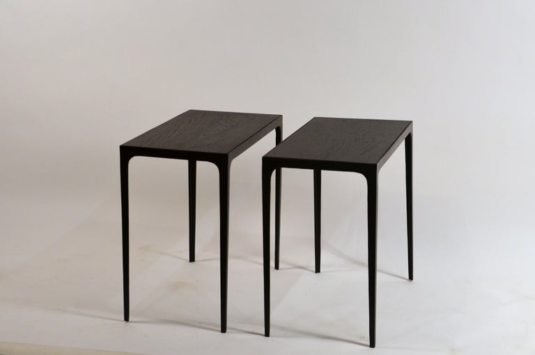 Pair of chic ebonized grooved oak 'Esquisse' side tables by Design Frères.