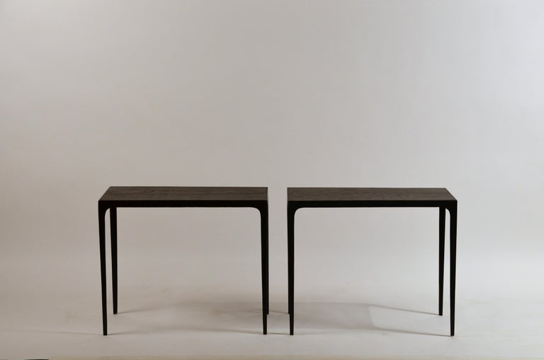 Art Deco Pair of Ebonized Grooved Oak 'Esquisse' Side Tables by Design Frères For Sale