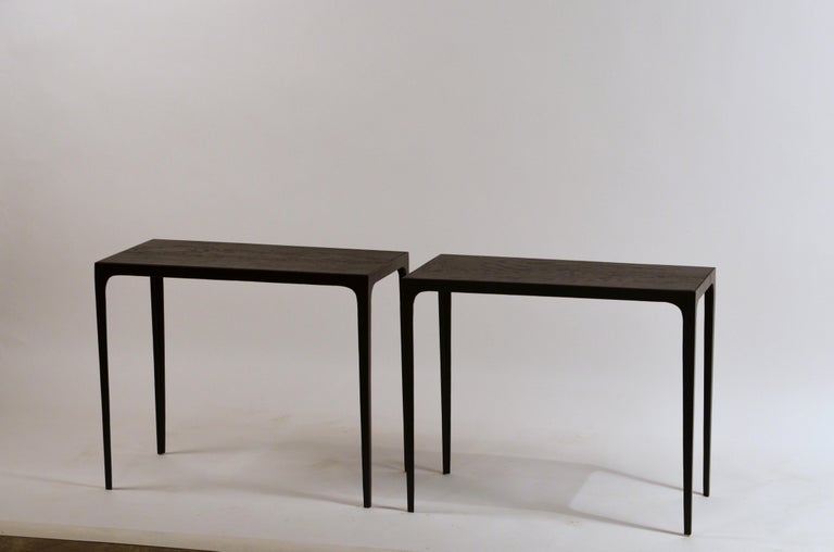 French Pair of Ebonized Grooved Oak 'Esquisse' Side Tables by Design Frères For Sale