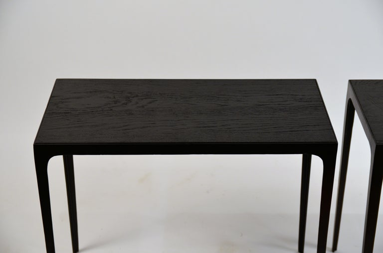 Pair of Ebonized Grooved Oak 'Esquisse' Side Tables by Design Frères In New Condition For Sale In Los Angeles, CA