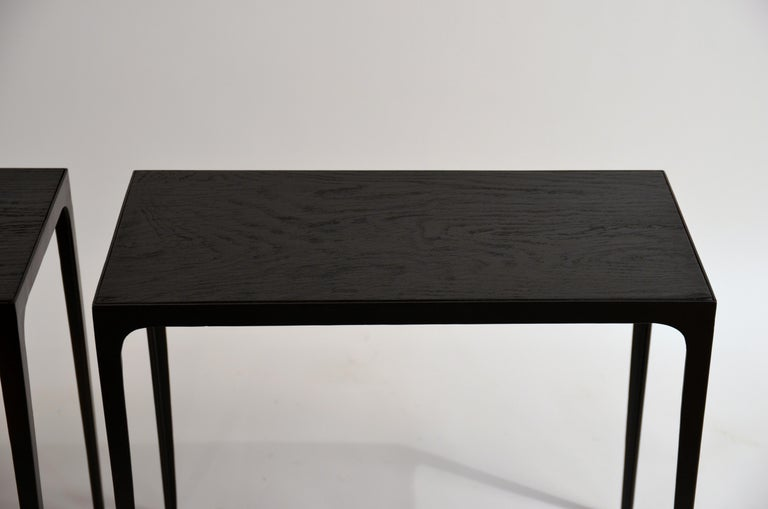 Contemporary Pair of Ebonized Grooved Oak 'Esquisse' Side Tables by Design Frères For Sale