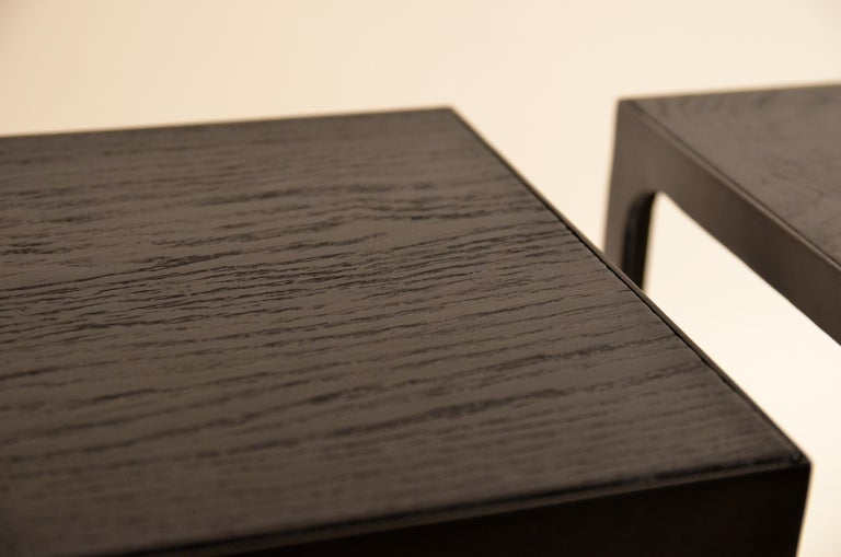 Pair of Ebonized Grooved Oak 'Esquisse' Side Tables by Design Frères For Sale 1