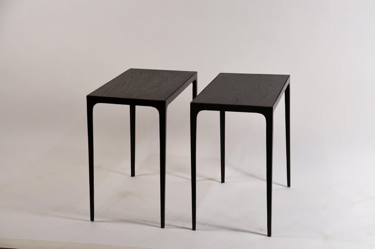 Pair of Ebonized Grooved Oak 'Esquisse' Side Tables by Design Frères For Sale 3