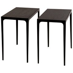 Pair of Ebonized Grooved Oak 'Esquisse' Side Tables by Design Frères