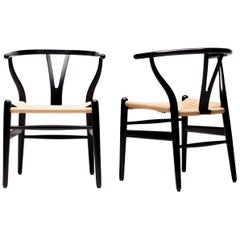Pair of Ebonized Hans Wegner for Carl Hansen CH-24 Wishbone Chairs