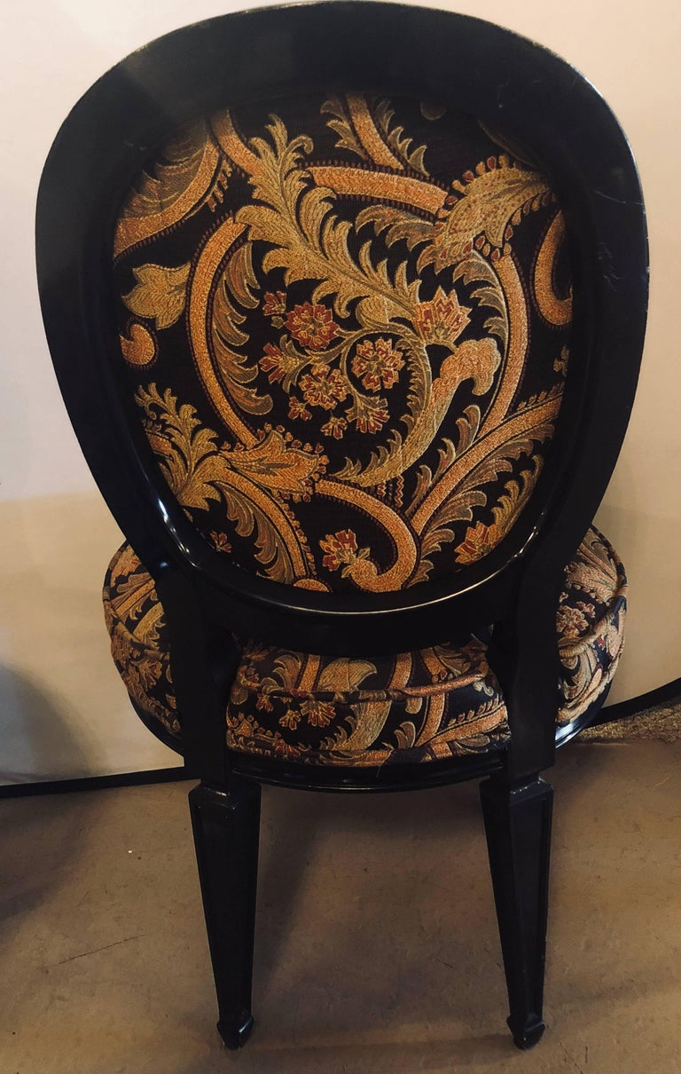 20th Century Pair of Ebonized Louis XVI Style Side or Office Chairs Beautifully Upholstered For Sale
