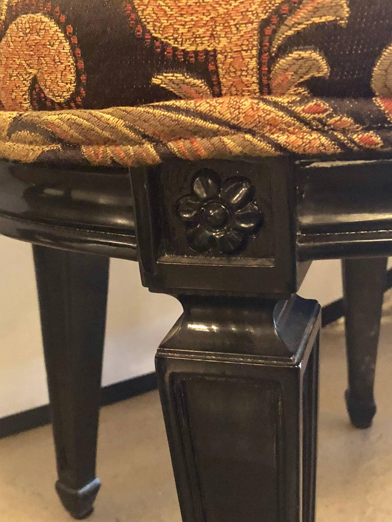 Pair of Ebonized Louis XVI Style Side or Office Chairs Beautifully Upholstered For Sale 4