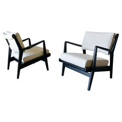 Pair of Ebonized Lounge Chairs by Jens Risom, ca. 1965