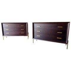 Pair of Ebonized Mahogany Brass Cabinets