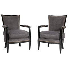 Pair of Ebonized Open Armchairs French Directoire in the Manner of Andre Arbus