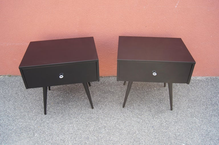 Mid-Century Modern Pair of Ebonized Planner Group Side Tables by Paul McCobb for Winchendon For Sale
