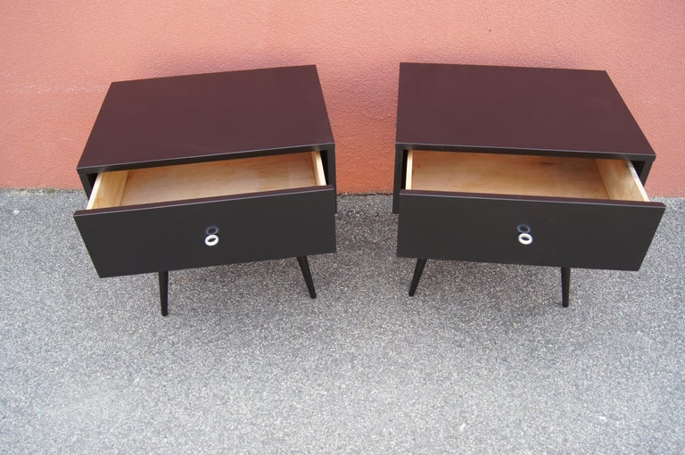 American Pair of Ebonized Planner Group Side Tables by Paul McCobb for Winchendon For Sale