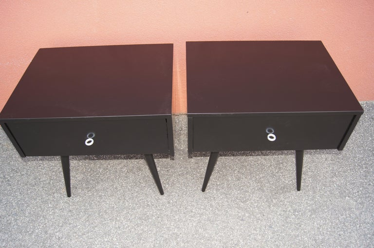 Pair of Ebonized Planner Group Side Tables by Paul McCobb for Winchendon For Sale 1