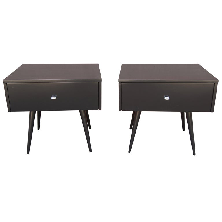 Pair of Ebonized Planner Group Side Tables by Paul McCobb for Winchendon For Sale