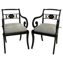 Pair of Ebonized Regency Armchairs, English, circa 1830
