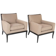 Pair of Ebonized T.H. Robsjohn Gibbings Armchairs with Flared Front Legs