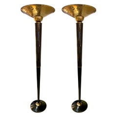Pair of Ebonized Torchieres /Floor Lamps with Brass Tops in the Art Deco Manner